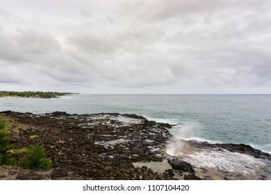 Landmark blowhole Spouting Horn on Kauai island of Hawaii