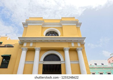 landmark building front entrance of spanish colonial architecture in old san juan