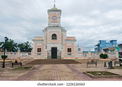 landmark cathedral exterior and ballustrade in plaza of fajardo puerto rico