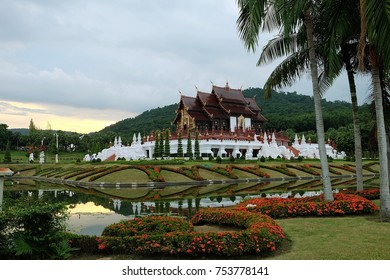 The landmark at Chiang Mai the temple in Royal Flora Ratchaphruek Park,Thailand.in the evening low light.