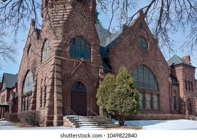 landmark church building of richardsonian romanesque architecture in minneapolis minnesota