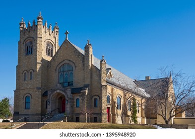 landmark church entrance bell tower and nave exterior of gothic revival architectural style in saint paul minnesota