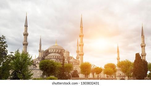 landmark dome of Sultanahmet Blue mosque Istanbul, Turkey