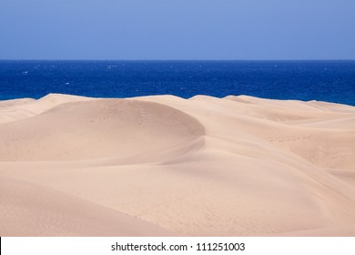 The landmark dunes of Maspalomas in Gran Canaria, one of the Canary Islands, Spain