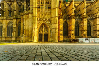 A landmark of famous cathedral in Limoges city in France, Europe. Limoges Cathedral is a Roman Catholic church  in the Gothic architectural style. It is a national monument and the seat of the Bishop.