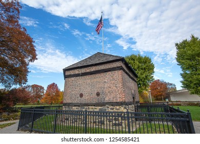 Landmark at Fort Pitt in Point State Park, with late fall foliage, in Pittsburgh, Pennsylvania.
