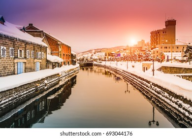 Landmark of Hokkaido, japan Otaru canal in winter with twilight sky