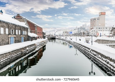 Landmark of Hokkaido, japan Otaru canal in winter