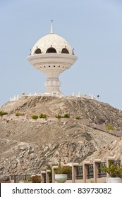 Landmark incense burner structure in Muttrah, Oman, next to the corniche at the traditional souq and harbor of Muscat.