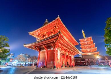 Landmark of japan Asakusa Temple Sensoji Temple at night in Tokyo, Japan.