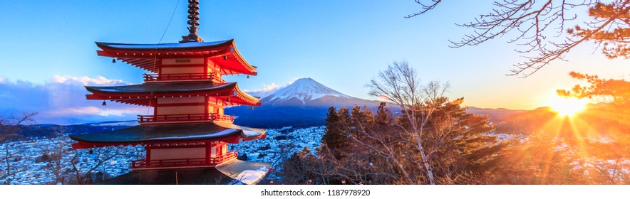 Landmark of japan Chureito red Pagoda and Mt. Fuji in Fujiyoshid