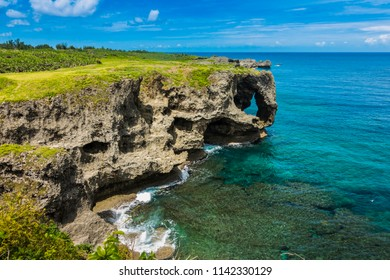 Landmark in Japan, Famous Place in Japan, Manzamo Cape with blue sky and beautiful sea in Okinawa, Japan, copy space