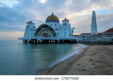 Landmark of Malacca, Straits Mosque of Malacca or famously known as Masjid Selat, Malaysia