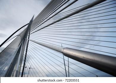 Landmark of modern silver steel bridge at dusk in Putrajaya, Malaysia. Asia