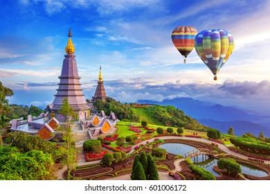 Landmark pagoda in doi Inthanon national park with Balloon at Chiang mai, Thailand.