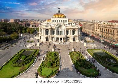 Landmark Palace of Fine Arts (Palacio de Bellas Artes) in Alameda Central Park near Mexico City Zocalo Historic Center.