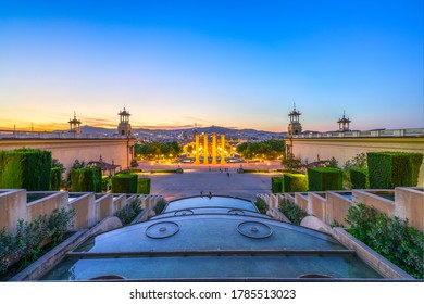 The landmark Placa Espanya at sunset in Barcelona Spain