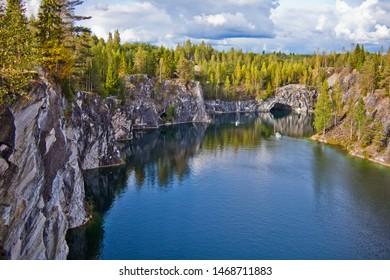 Landmark of Russia, marble quarry Ruskeala reserve, Karelia
