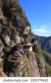 Landmark site Tiger's Nest or Taktsang  Monastery in the top of a rocky mountain in Paro, Bhutan