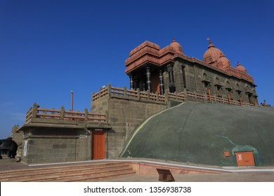 Landmark site Vivekananda rock memorial. The rock memorial is a religious  and tourist attraction in Kanyakumari.