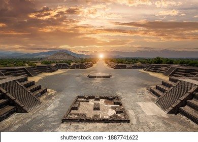 Landmark Teotihuacan pyramids complex located in Mexican Highlands and Mexico Valley close to Mexico City.