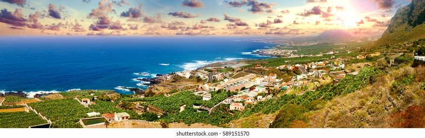 Landmark and tourism in Canary Islands.Spain beaches.Sunset panorama village coast in Tenerife.