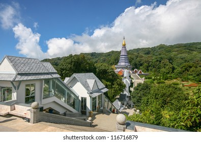 Landmark tower on the top of Doi Inthanon national park of Thailand