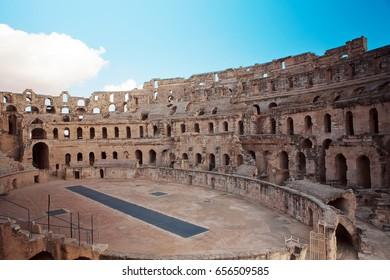 Landmark Tunisia Roman amphitheater in El Jem