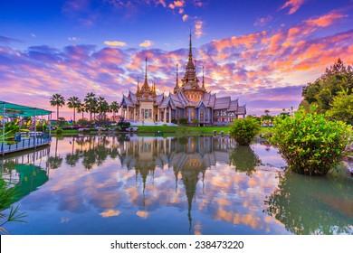 Landmark wat thai, sunset in temple at Wat None Kum in Nakhon Ratchasima province Thailand