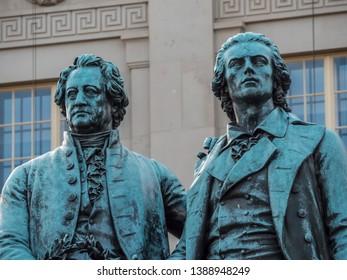 Landmark of Weimar town. Famous sculpture of Goethe and Schiller