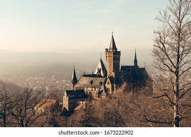 Landmark Wernigerode castle in the Golden light of the sun