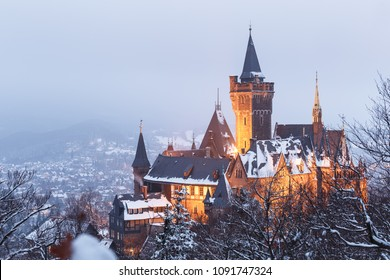 The landmark of Wernigerode castle in the Winter
