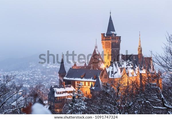 The landmark of Wernigerode castle in the Winter