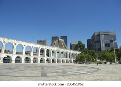Landmark white arches of Arcos da Lapa at the skyline in Centro of Rio de Janeiro Brazil