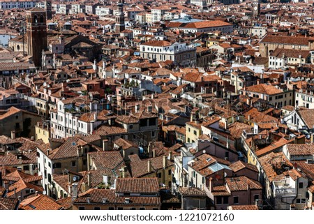Landmarks and aerial view of Venice, Italy; colorful buildings in North Italy