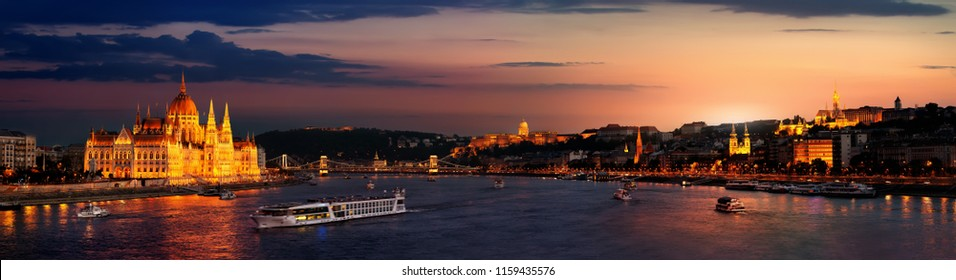 Landmarks of Budapest in panoramic view at twilight