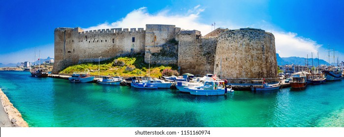 Landmarks of Cyprus - medieval fortress in Kyrenia, turkish parof islandt