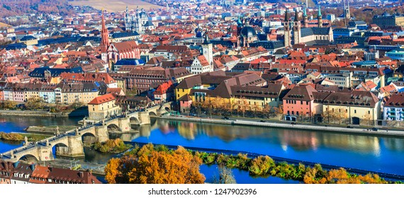 Landmarks of Germany - cityscape of beautiful Wurzburg in Bavaria. View from Marienberg castle