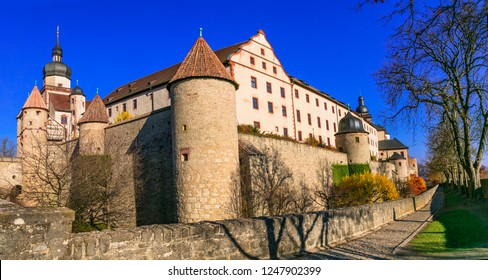 Landmarks of Germany - medieval fortress Marienberg . Symbol of Wurzburg town. Bavaria