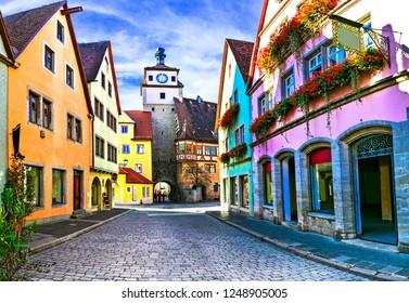 "Landmarks of Germany - Rothenburg ob der Tauber .Famous route ""Romantic road"" in Bavaria"