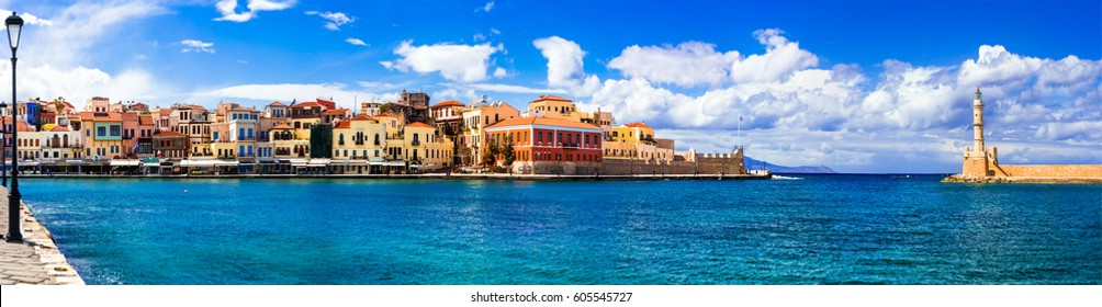 Landmarks of Greece - beautiful venetian town Chania in Crete island