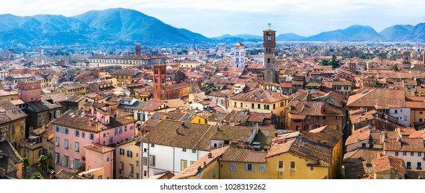 Landmarks of Italy - beautiful medieval town Lucca in Tuscany. City view from Guinigi tower