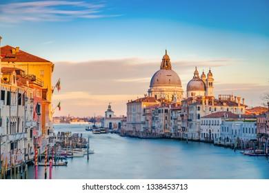 Landmarks of Venice. Grand Canal and Basilica Santa Maria della Salute - long exposure photograph
