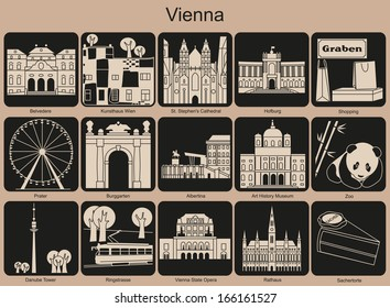 Landmarks of Vienna. Set of monochrome icons. Raster illustration.