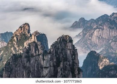 Landmarks of Yellow Mountain or Huangshan mountain Cloud Sea Scenery , East China`s Anhui Province.