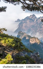 Landmarks of Yellow Mountain or Huangshan mountain Cloud Sea Scenery , East China`s Anhui Province.