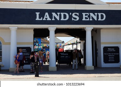 Land's End area (England), UK - August 16, 2015: Land's End souvenir shop, Cornwall, England, United Kingdom.