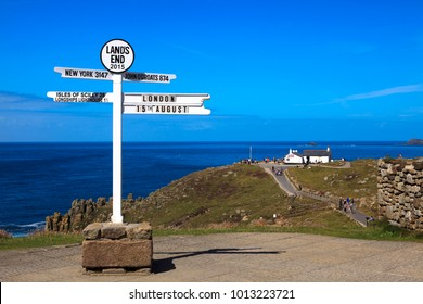 Land's End area (England), UK - August 16, 2015: Sign in The Land's End area, Cornwall, England, United Kingdom.