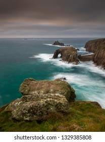 Lands End England. View from cliff tops looking to Enys Dodman Arch