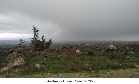 Lands and stormy sky, Golan Highlands